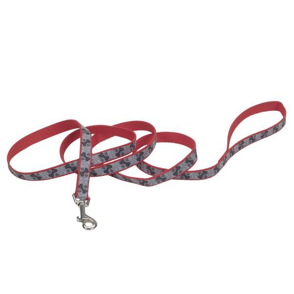 Coastal Lazer свето-отражающий поводок для собак, красный с косточками, 1,6см, 1,2м