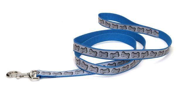 Coastal Lazer свето-отражающий поводок для собак, бледно голубой узор, 2,5см, 1,8м