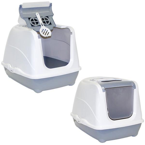 Moderna МОДЕРНА ФЛИП КЭТ ДЖУМБО закрытый туалет для кошек, с откидной крышкой, светло серый, 58х45х42 см