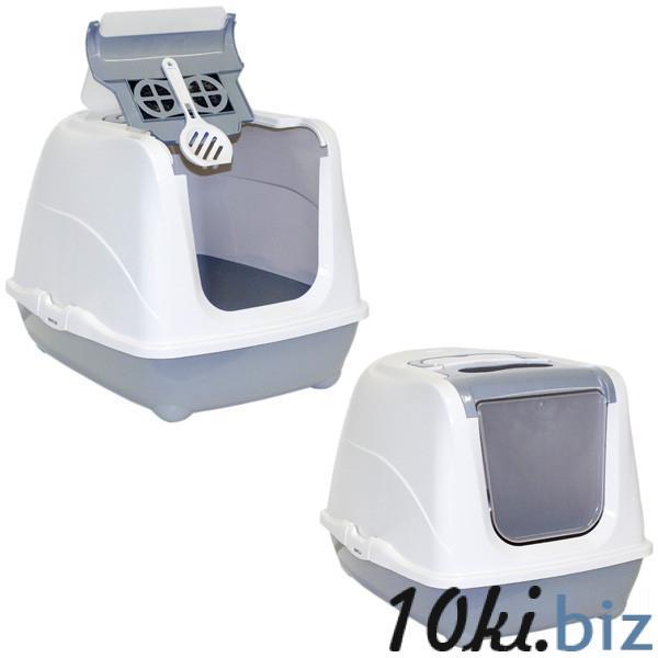 Moderna МОДЕРНА ФЛИП КЭТ ДЖУМБО закрытый туалет для кошек, с откидной крышкой, светло серый, 58х45х42 см купить в Харькове - Туалеты для кошек, наполнители для туалета