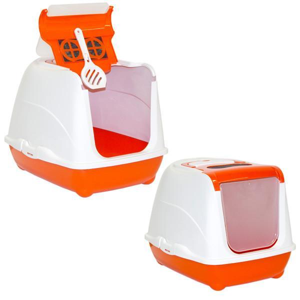 Moderna МОДЕРНА ФЛИП КЭТ ДЖУМБО закрытый туалет для кошек, с откидной крышкой, оранж, 58х45х42 см