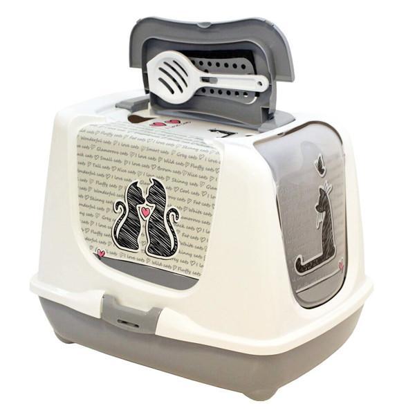 Moderna Trendy Cat Cats in Love МОДЕРНА ТРЕНДИ КЕТ закрытый туалет для кошек c угольным фильтром и совком, светло серый, дизайн Влюбленные Коты,