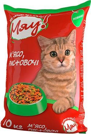 Мяу! Сухой корм для котов, мясо рис овощи, 11кг