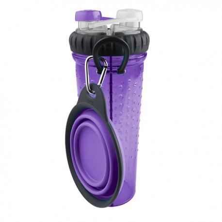 DEXAS Бутылка двойная для воды со складной миской, розовая