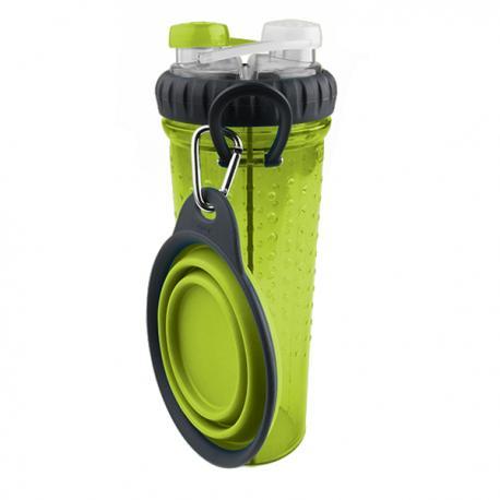 DEXAS Бутылка двойная для воды со складной миской, зеленая