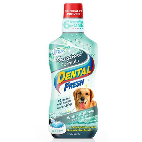SynergyLabs Dental Fresh СИНЕРДЖИ ЛАБС СВЕЖЕСТЬ ЗУБОВ жидкость от зубного налета и запаха из пасти собак и кошек, 0,237 л