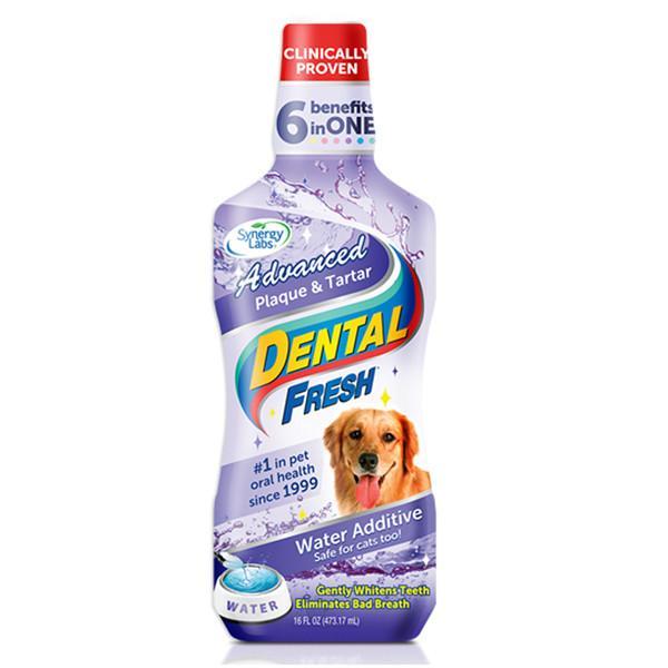 SynergyLabs Dental Fresh Advanced СИНЕРДЖИ ЛАБС СВЕЖЕСТЬ ЗУБОВ ЭДВАНСЕД жидкость от зубного налета и запаха из пасти собак и кошек, 0,503 л