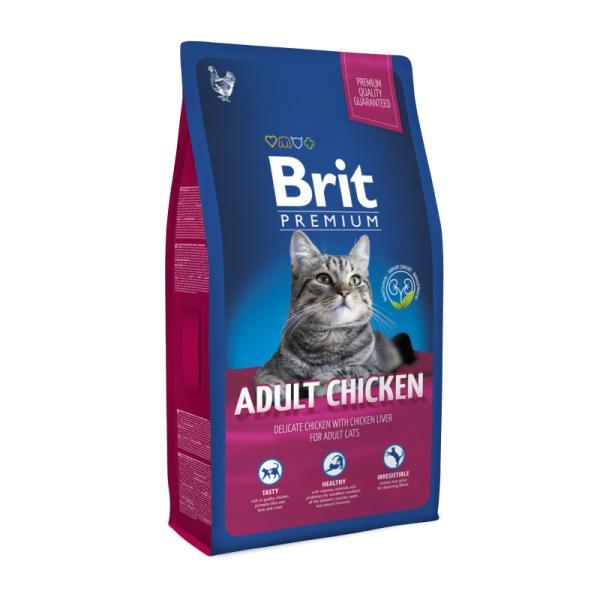 Brit Premium Cat Adult Chicken с курицей для взрослых кошек, 8 кг