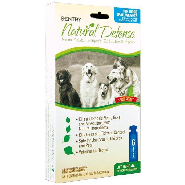 SENTRY Natural Defense СЕНТРИ НАТУРАЛЬНАЯ ЗАЩИТА капли от блох и клещей для собак и щенков, 1,5 мл, 6 шт уп