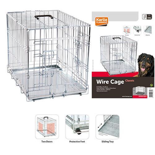 Karlie-Flamingo Wire Cage КАРЛИ-ФЛАМИНГО клетка для собак, двухдверная хромированная, 63х43х49 см