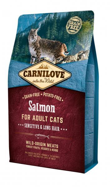 Полнорационный беззерновой корм CarniLove Salmon Sensitive & Long Hair, 2 кг, Харьков, Киев, Херсон, Николаев
