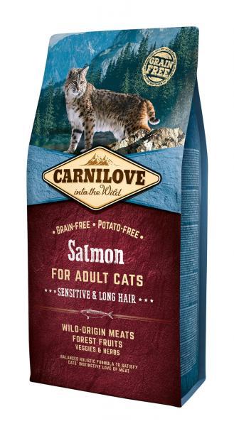 Полнорационный беззерновой корм CarniLove Salmon Sensitive & Long Hair, 6 кг, Харьков, Киев, Херсон, Николаев