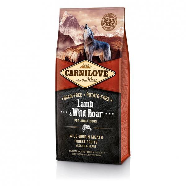 Беззерновой корм Carnilove Ягненок и дикий кабан для взрослых собак всех пород, 12 кг