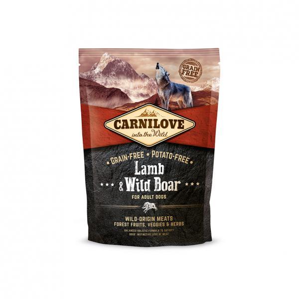 Беззерновой корм Carnilove Ягненок и дикий кабан для взрослых собак всех пород, 1,5 кг