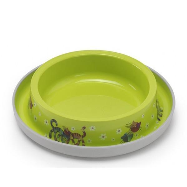 МОДЕРНА миска для кошек, защита от муравьев, ярко-зеленый, дизайн Друзья Навеки, 210мл, d15см, ярко-зеленый