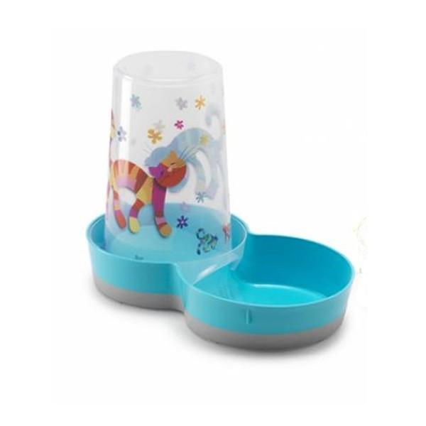МОДЕРНА 2в1 автокормушка автопоилка для кошек и собак, дизайн Друзья Навеки, 1,5 л, голубой