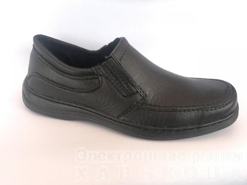 Туфли черный на резинках мужские ANKOR-1