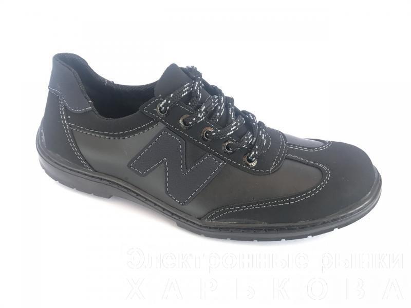 Туфли спортивный на шнурках мужские черный ANKOR №6(син)