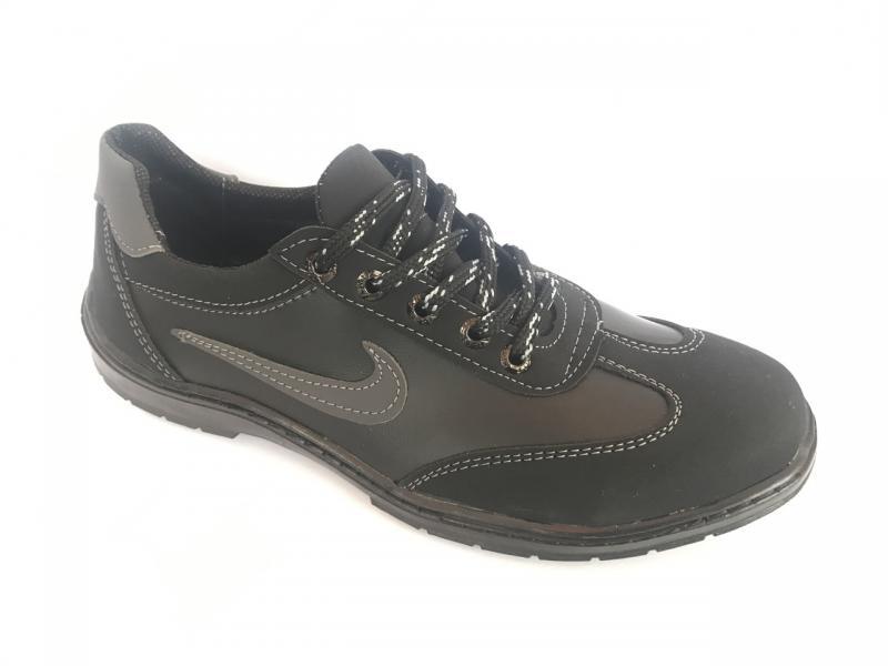 Туфли спортивный на шнурках мужские черный ANKOR №7(сер)