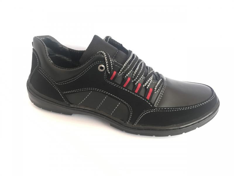Туфли спортивный на шнурках мужские черный Pilot - T-73