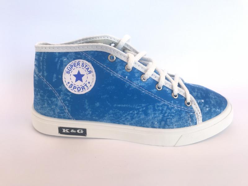 Мокасины женские голубые джинсовый К-3