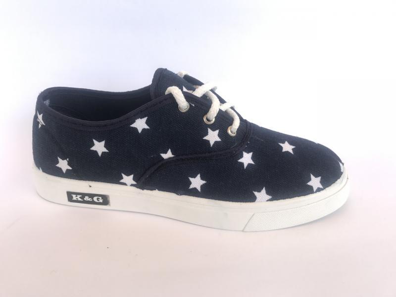 Мокасины женские синий со звездочками на шнурках К-2