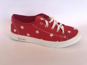 Фото Мокасины для женщин Мокасины женские красный со звездочками на шнурках К-2