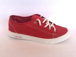 Фото Мокасины для женщин Мокасины женские красный на шнурках К-4