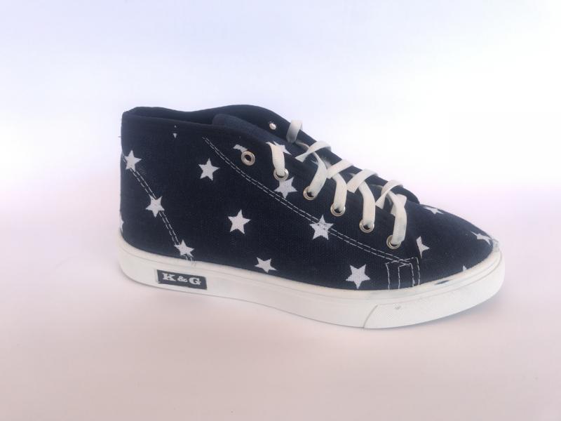 Мокасины женские синий со звездочками К-3