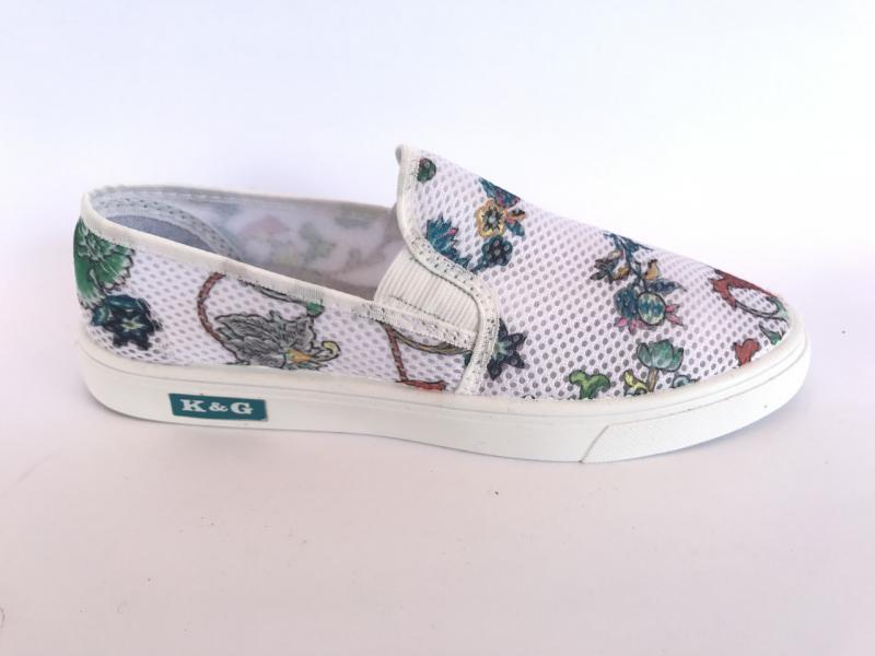 Мокасины женский сеточка белая в цветочек