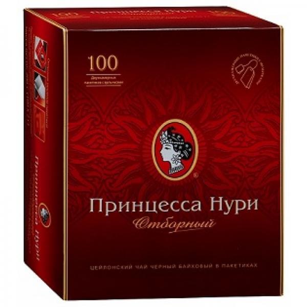 """Чай черный пакетированный """"Принцесса Нури"""" отборный, 100 пакетиковпо 2 гр. в пачке"""