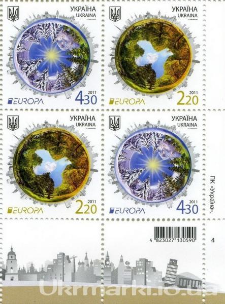 2011 № 1162-1163 квартблок почтовых марок за программою «EUROPA» на тему «Леса»