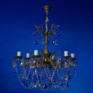 Фото Бронзовые люстры Бронза 6-лам.   Синяя