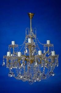 Фото Классические люстры Свечи латунь 12-лам белая  двухярусная