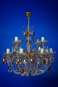 Фото Классические люстры Свечи латунь 12-лам.   Коричневая  двухярусная