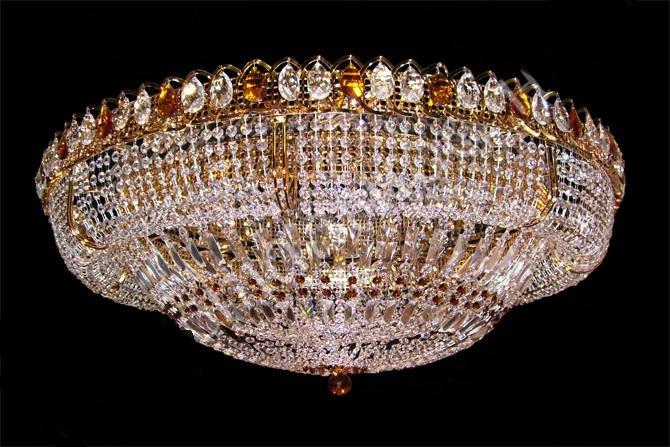 Хрустальная большая люстра Купол с зеркалом с камнем чайного цвета