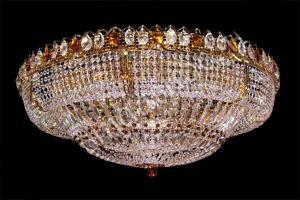 Фото Люстры больших размеров Хрустальная большая люстра Купол с зеркалом с камнем чайного цвета