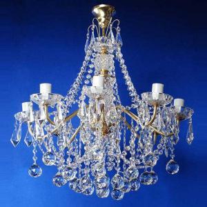 Фото Латунные люстры с хрустальными подвесками Свечи