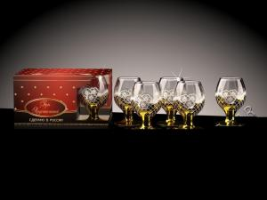 Фото Стеклоизделия, Фужеры, бокалы, рюмки, бренди, мартини Бокалы Бренди рисунок Золотая сетка цветы