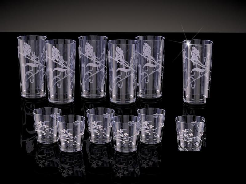 Набор со стаканами рисунок Изящная ветвь дымка