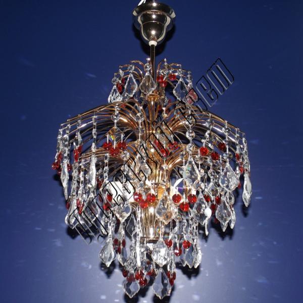 Хрустальная люстра Хрустальные брызги Рябина с подвесом цветная