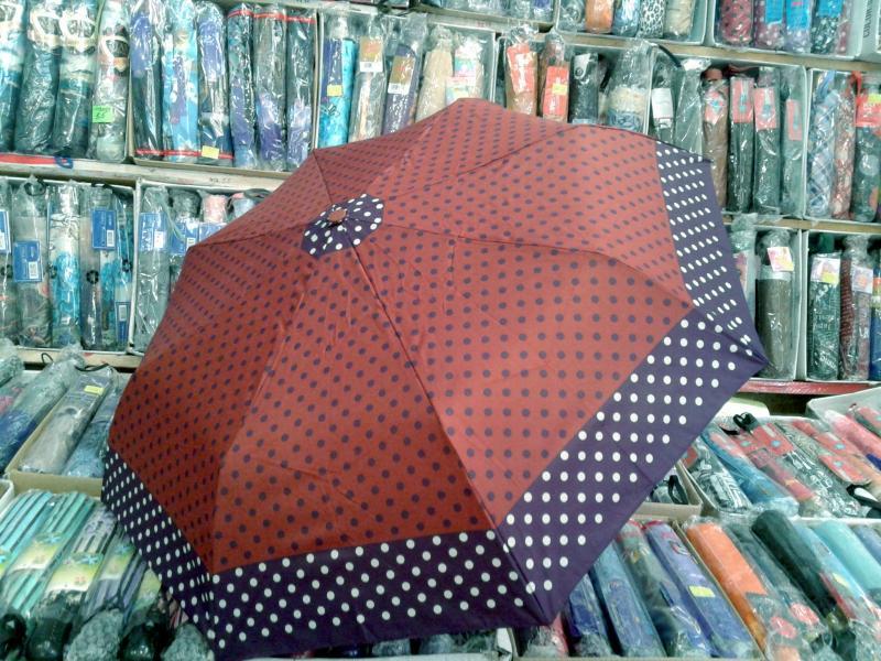 зонт женский с горошком по кайме