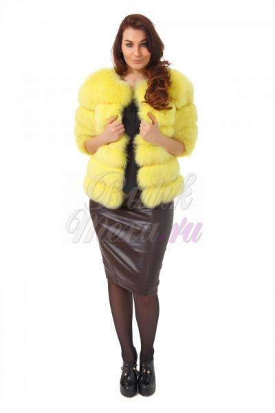 Меховой пиджак из песца желтого цвета