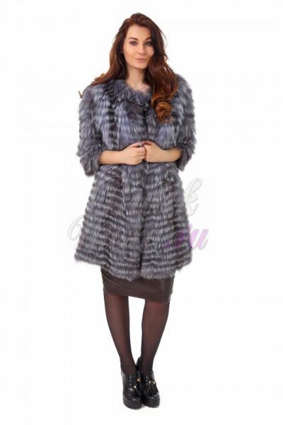 Меховое пальто из чернобурки серого цвета