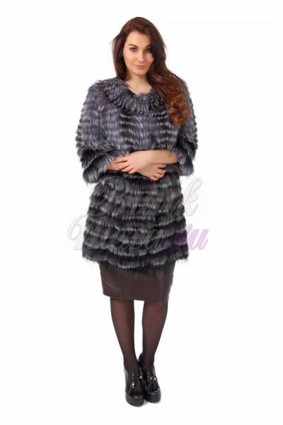 Пальто из чернобурки цвет черный