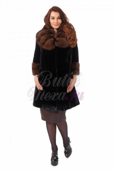 Шуба из норки цвет черный black lama
