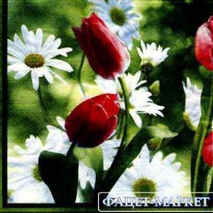 Фото Салфетки для декупажа, Цветы Салфетка Ромашки и тюльпаны СД-004
