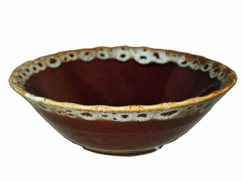 Тарелка керамическая глубокая Пенка коричневая 600мл