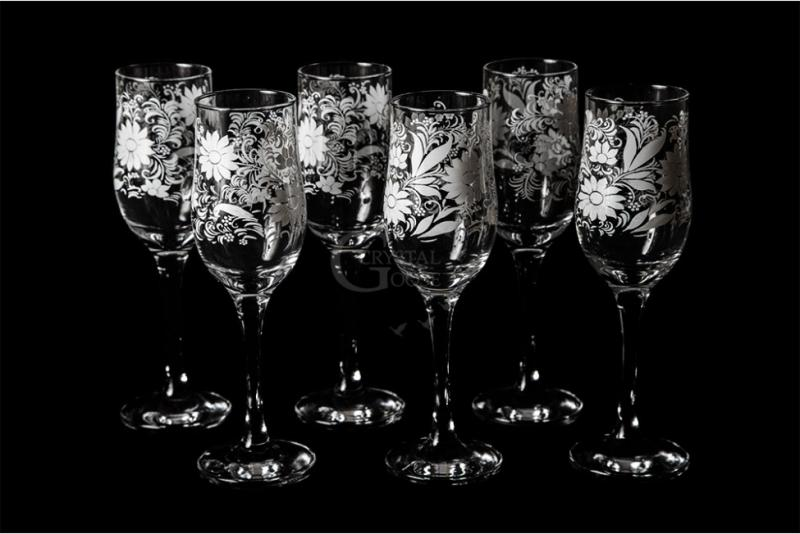"Бокалы для вина ""Тулип"". Белые цветы"