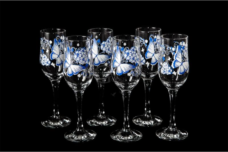 "Набор бокалов для вина ""Тулип"". Бело-голубая бабочка"